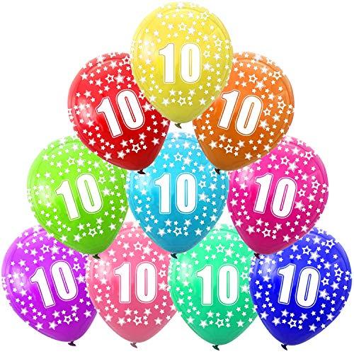 Funny House 30 Pcs Kunterbunte Luftballons 10 Jahre Metallic Deko zum 10. Geburtstag, 10. Jubiläum Hochzeit Party Kindergeburtstag Happy Birthday Dekoration