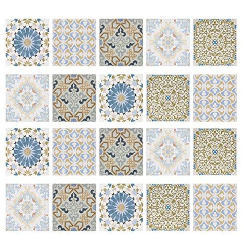MagiDeal 20Pieces Mosaico Azulejos de Pared Pegatinas Cocina Baño Calcomanías Impermeables - # 1, tal como se describe
