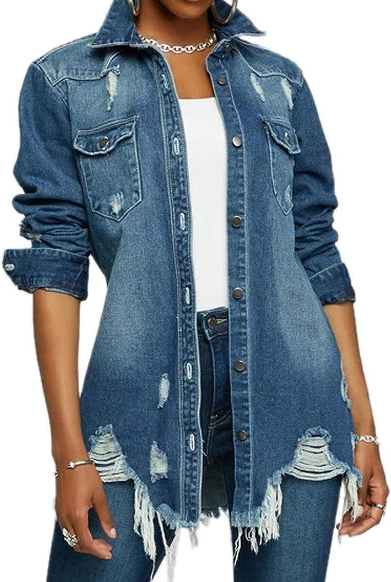 Jean Jacket for Women Distressed Ripped Long Sleeve Oversized Denim Jackets