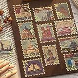 Mohamm 40 PCS vergoldete Aufkleber Gedicht und Traum Serie Retro Ticket Stempel Brief Aufkleber...