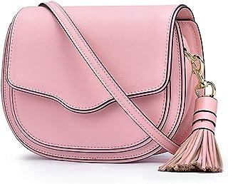 Leather Handbags/Cowhide Tassel/Fashion Saddle Bag/Shoulder Bag Ms. Messenger. jszzz (Color : Pink)