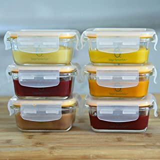 Sage Spoonfuls 6 Piece Tough Glass Tubs Baby Food Storage Containers