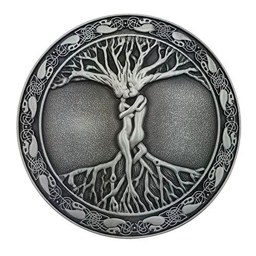 Lanxy Western Cowboy Celtic Tree Of Life Roots Branches Round Belt Buckle For Mens Silver Tone