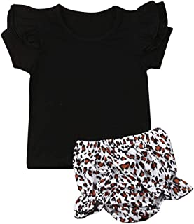 Toddler Baby Girl Fashion Basic Ruffle T Shirts Leopard Shorts Outfits Bloomers Sets