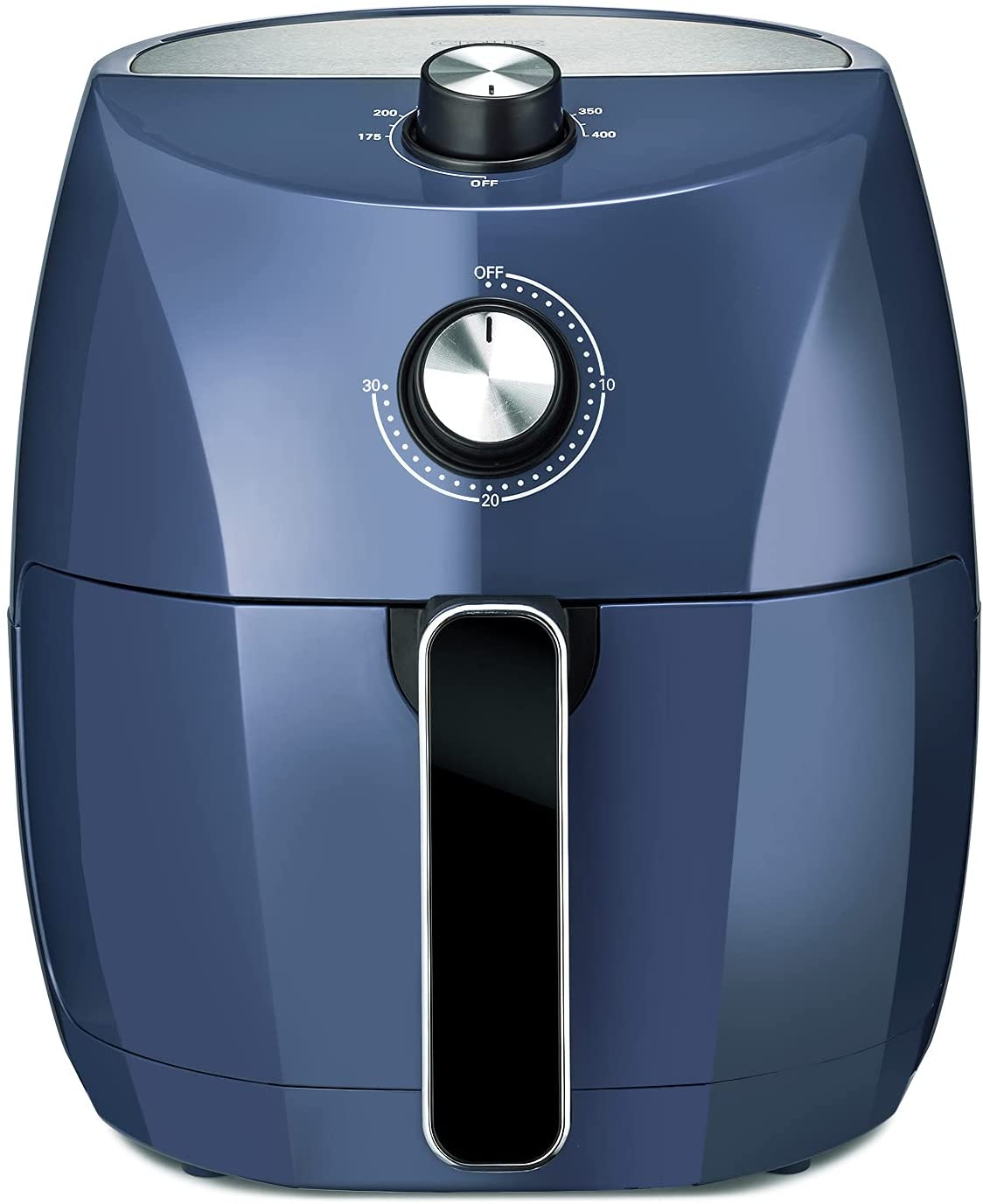 Crux 3.7QT Manual Air Fryer, Faster Pre-Heat, No-Oil Frying, Fast Healthy Evenly Cooked Meal Every Time, Dishwasher Safe Non Stick Pan and Crisping Tray for Easy Clean Up, Stainless Steel/Blue
