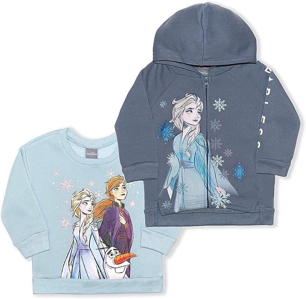 Disney National uniform free shipping Frozen Girl's 2-Piece Zip Year-end gift Hoodie Up and Crewneck Sweatshi