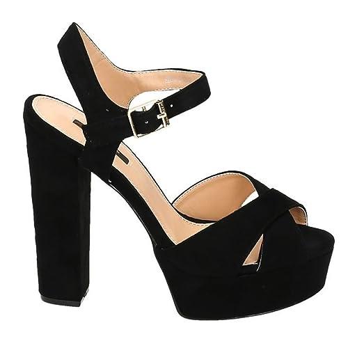 6b9a35f1174aee Damen Riemchen Abend Sandaletten High Heels Pumps Slingbacks Velours Peep  Toes Party Schuhe Bequem 07