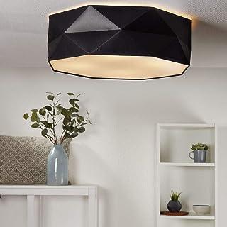 Lámpara de techo Samuel, de tela, color negro, 4 x E27, diámetro de 52 cm, lámpara de techo plana para salón, comedor, salón, bar, restaurante, cocina, lámpara de tela, redonda, lámpara de techo retro