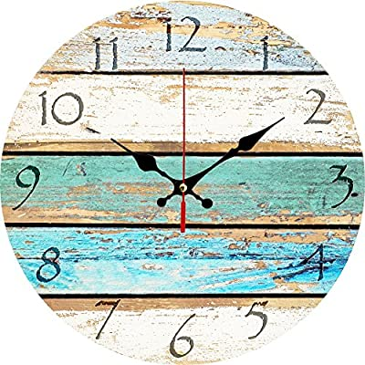 """Grazing 12"""" Vintage Arabic Numerals ,Shabby Beach, Weathered Beachy Boards Design ,Ocean Colors Old Paint Boards Printed Image, Rustic Mediterranean Style Wooden Decorative Round Wall Clock (Sky)"""