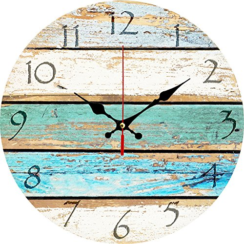 "Grazing 12"" Vintage Arabic Numerals ,Shabby Beach, Weathered Beachy Boards Design ,Ocean Colors Old Paint Boards Printed Image, Rustic Mediterranean Style Wooden Decorative Round Wall Clock (Sky)"