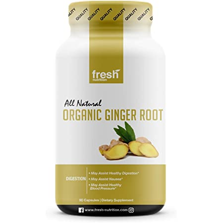 Organic Ginger Root Capsules - Strongest DNA Verified Ginger Root - Non GMO, Soy Free, Gluten Free, Vegan Friendly