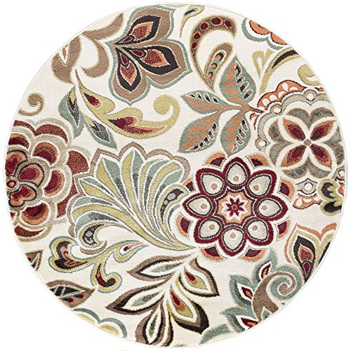 Dilek Transitional Floral Ivory Round Area Rug, 8' Round