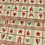 Tela de algodón con diseño de corazones de Navidad, color natural