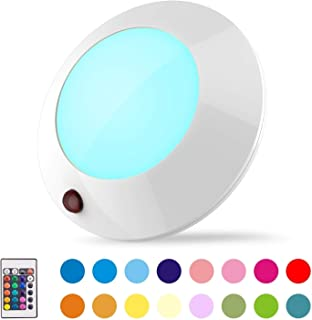BIGLIGHT Battery Operated Lights Wireless Ceiling Light with Remote Led Bathroom Light RGB Mood Light Dimmable Night Light...