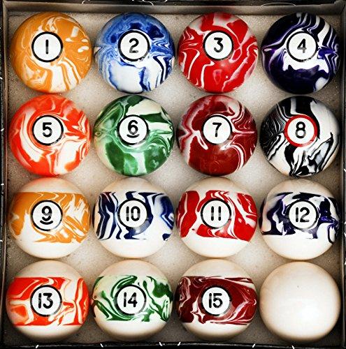 "Art # Marble Swirl Pool Table Billiard Ball Set - 2 1/4"" Reg Size + Weight 6 oz"