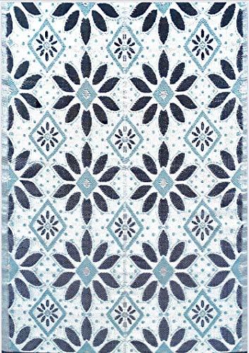 BalajeesUSA Outdoor Patio Rugs clearance 6'x9' (183 cm x 274 cm) Sky Blue, Black, Grey 20331