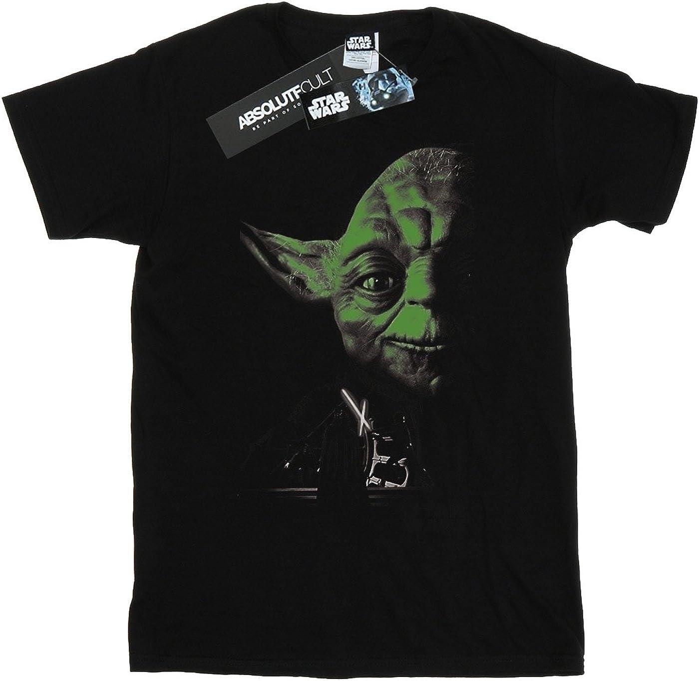 STAR WARS Boys Yoda Green Face T-Shirt 5-6 Years Black