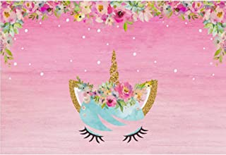 Cassisy 1,5x1m Vinilo Unicornio Fondo de Fotografia Decoraciones para fiestas de cumpleaños Flor flor Fondo de pantalla de color rosa Telón de Fondo Photo Booth Infantil Party Niños Photo Studio Props