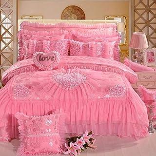 MZW Encaje Rojo Rosa Boda Royal Juego de Cama Queen King Size Colcha Juego de sábanas Planas Funda nórdica Juego de Dormitorio, Rosa, King Size 12pcs
