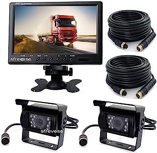 9 inch TFT Car Vehicle Rearview Monitor + 2 x 4Pin 18 LED IR Night Vision Reversing Parking Backup Camera 15m 49ft Cable for Long Bus Truck Motorhome Trailer Caravan Waterproof 12V-24V