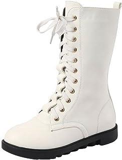 (ピピシダ)PPXID キッズサイドゴアブーツ 編み上げ靴 ロングブーツ レースアップファスナー付  七五三 入学式 卒業式 入園 学生 通学 ホワイト 21cm