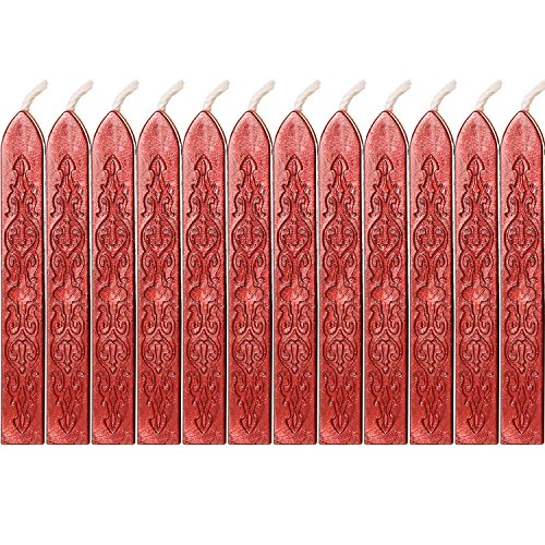 12 Piezas de Barras de Cera de Sello con Mechas Cera de Sellado de Manuscrito de Fuego Antiguo para Sello de Cera ((Color de Rojo Vino)