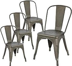Lot de 4 Chaises Style Industriel Factory en m/étal Couleur Galva JA STORE FR