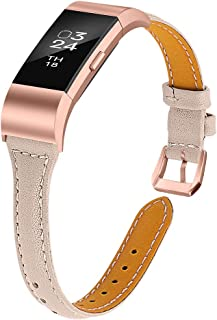Joyozy Leather Band Compatible with Fitbit Charge 2 Replacement Bands,Slim Classic Genuine Leather Wristband Fitness Strap Women Men