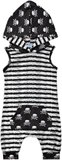 Xiaodriceee Halloween Newborn Baby Hooded Romper Boy Girl Sleeveless Striped Skull Jumpsuit Outfit Clothes