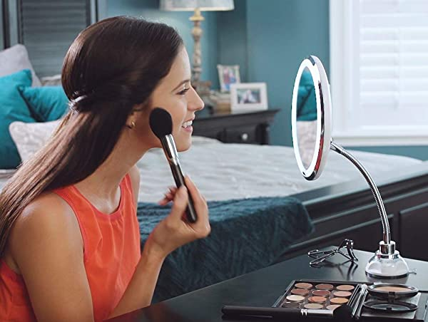 MY FLEXIBLE MIRROR 10x Magnification 7 Make Up Round Vanity Mirror For Home Bathroom Use With Super Strong Suction Cups As Seen On TV
