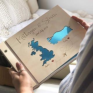 Guestbook matrimonio, Mape, libro delle firme e dediche del matrimonio, con copertina legno, personalizzato, nomi degli sp...