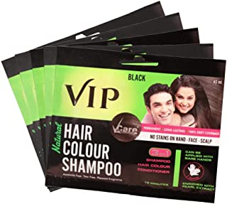 VIP Hair Color Shampoo Value Pack for Men & Women - Easy application for Hair, Beard, Chest & Mustache without Glows & mix...
