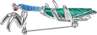 ALILANG Silvery Tone Crystal Rhinestone Long Praying Mantis Insect Bug Brooch Pin