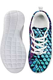 Owaheson Boys Girls Casual Lace-up Sneakers Running Shoes Paint Purple Green Fish Scales
