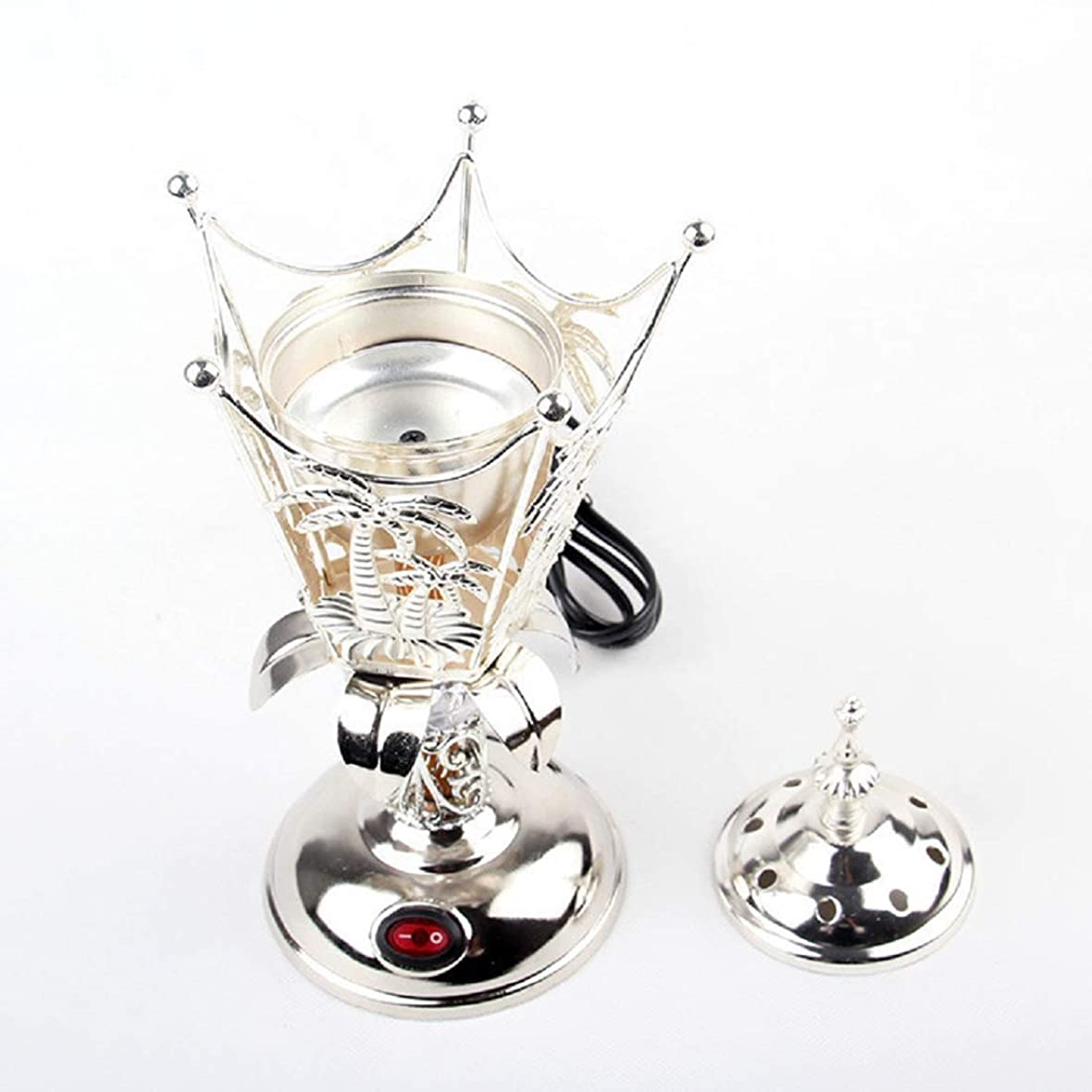 負担外交問題含意OMG-Deal Electric Bakhoor Burner Electric Incense Burner +Camphor- Oud Resin Frankincense Camphor Positive Energy Gift - WF-008 - Silver