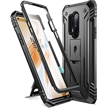 Poetic Revolution Series Phone Case for Oneplus 8 Pro Case, Full-Body Rugged Dual-Layer Shockproof Protective Cover with Kickstand and Built-in-Screen Protector, Black