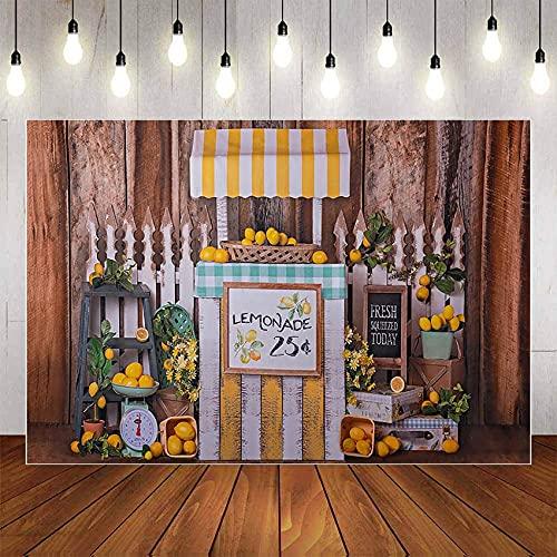 Fondo de fotografía limón Fresco Vintage Pared de Madera cumpleaños Infantil Baby Shower Foto Estudio telón de Fondo fotófono A1 10x10ft / 3x3m