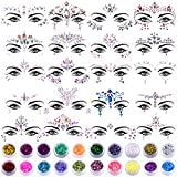 SIQUK 20 Sets Face Gems Glitter Mermaid Face Jewels Crystal Stickers with 20 Boxes Chunky Face Glitter Temporary Tattoos for Festival Rave Carnival Party