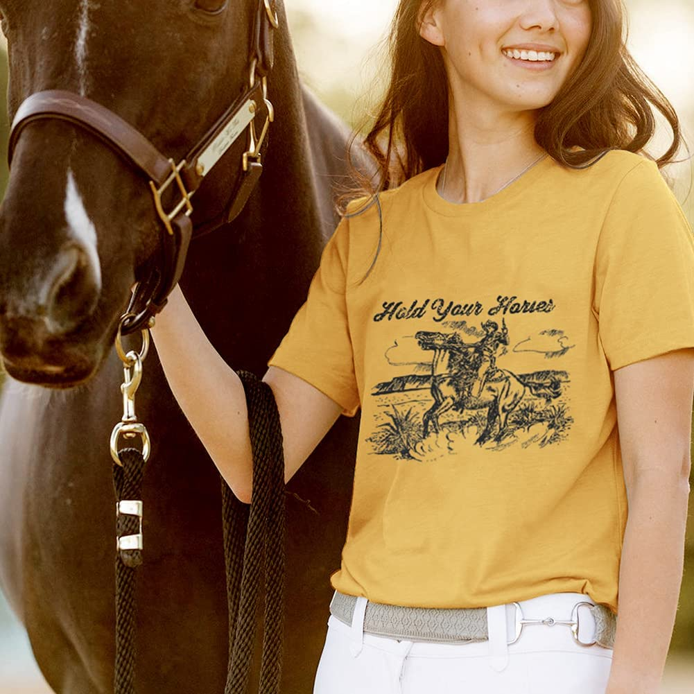 Vintage Western Wear Clothing, Outfit Ideas Hold Your Horses T-Shirts Women Vintage Tees Cowboy Funny Graphic Tops Western Retro Young Blouse  AT vintagedancer.com