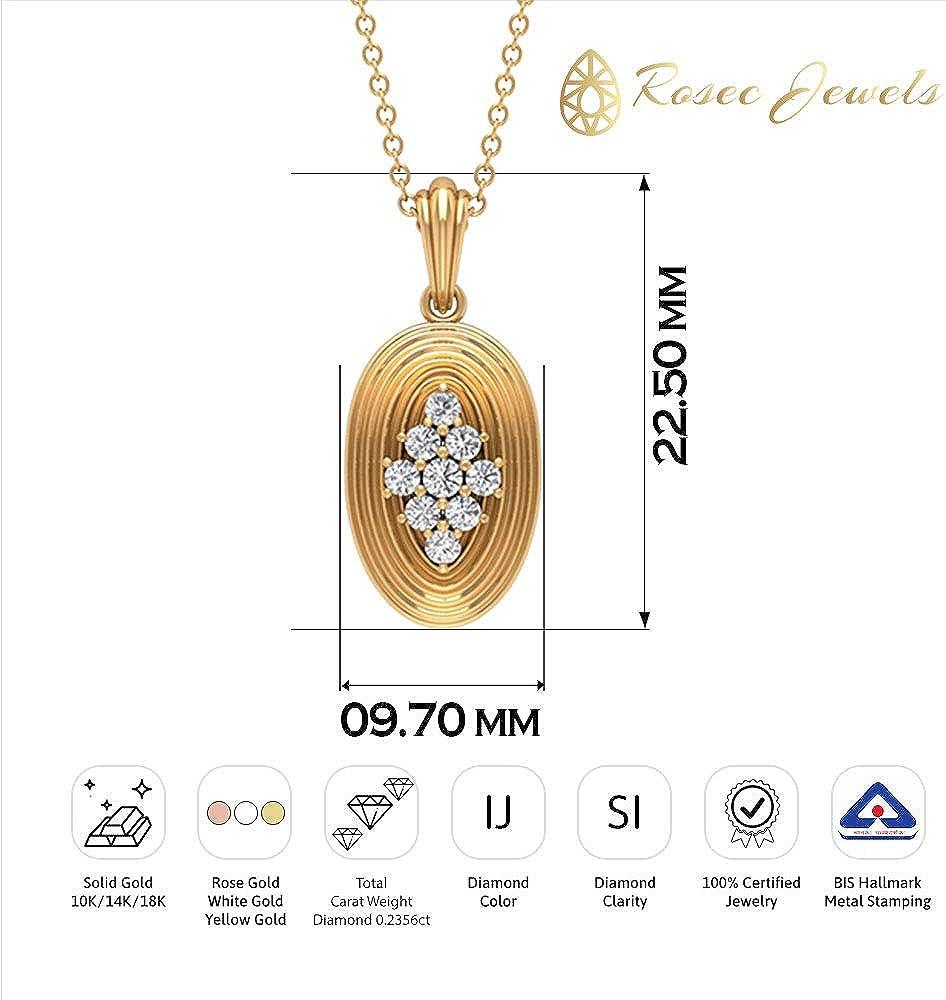 Vintage 1/4 CT Round Cut Certified Diamond Cluster Halo Pendant, Engraved Solid 14k Gold Filigree Drop Pendant, Best Friendship Charm Pendant Necklace