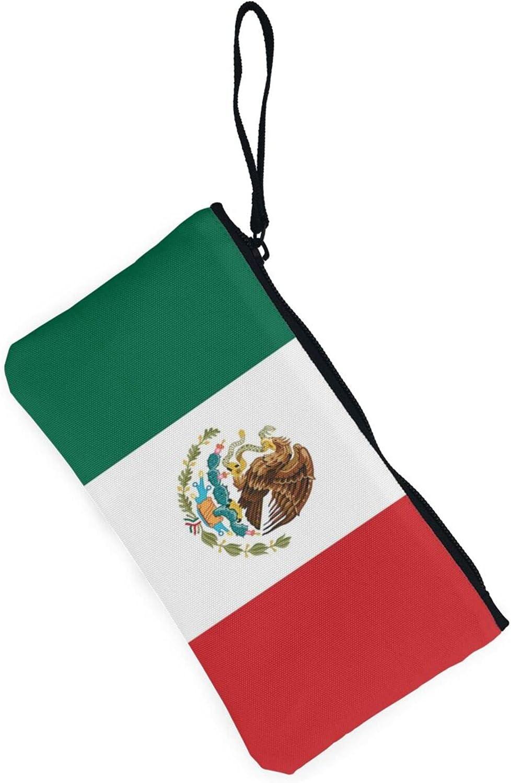 AORRUAM Flag of Mexico Canvas Coin Purse,Canvas Zipper Pencil Cases,Canvas Change Purse Pouch Mini Wallet Coin Bag