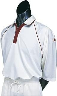 Premier Plus 3/4 Sleeve Cricket Shirt, Maroon Trim, X- Large
