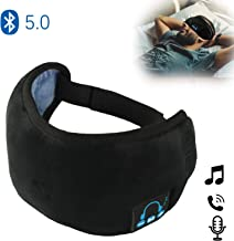 Sleep Eye Masks Headphones, Upgraded Bluetooth 5.0 Wireless Music Travel Sleeping Headset Built-in Speakers Microphone Handsfree