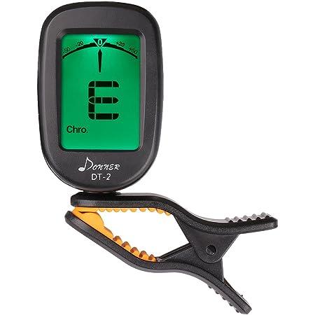 Donner Accordeur de Guitare Chromatique à Pince Tuner Portable pour Guitare, Basse, Violon, Ukulélé et Banjo, avec Ecran LCD 360° Rotation, Batterie Incluse (DT-2)
