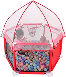 Fence-products Baby Playpen Portable  Breathable Waterproof Rollover Outdoor Playpen With Canopy  Color Red