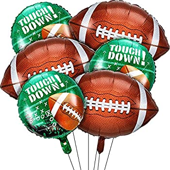 6 Pieces Football Balloons Set 3 Pieces Football Field Balloons and 3 Pieces Football Foil Balloons for Tailgate Game Day Football Theme Supplies Birthday Party Decorations