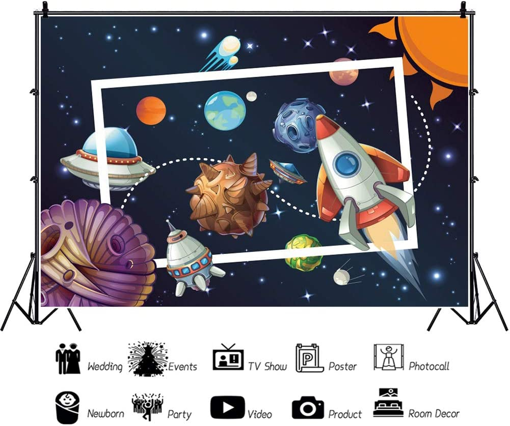 Haoyiyi 10x6.5ft Cartoon Outer Space Background Rocket Ship Launch Blast Off UFO Solar Backdrop Photography Photo Children Birthday Baby Shower Exploring Star Exhibition Portrait Decoration