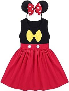 Little Girls Princess Birthday Snow White Belle Mouse Mermaid Cartoon Costume + Headband 2pcs Outfits