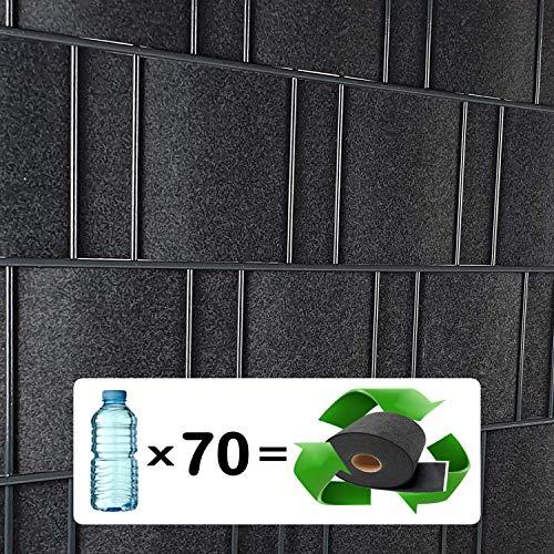 Milano (anthrazit) - Design Vlies Sichtschutz Streifen für Doppelstabmattenzaun inkl. Klemmschienen - PVC frei