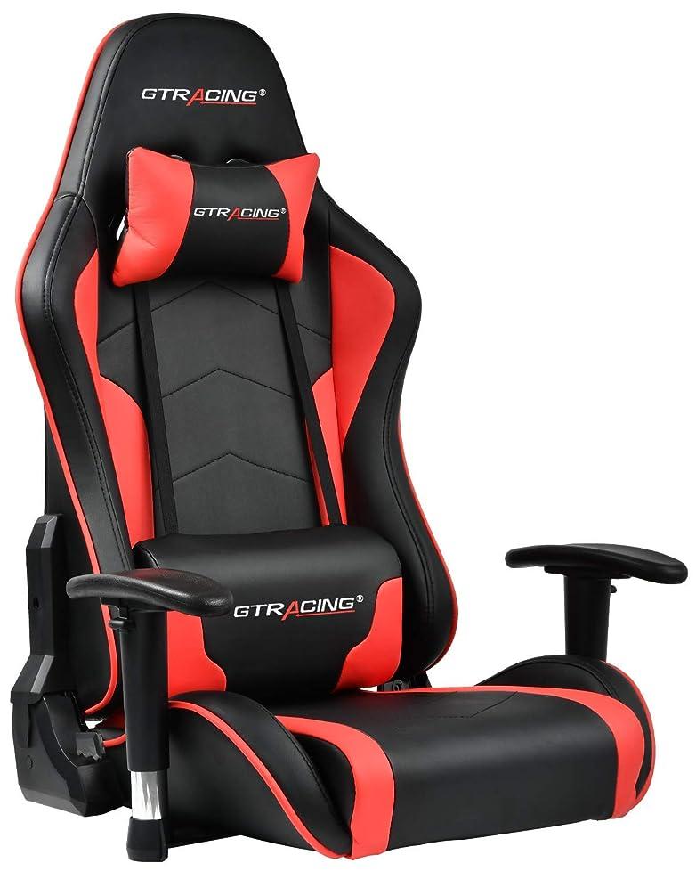 希少性子音スクリーチGTRACING ゲーミング座椅子 ゲーミングチェア 180度リクライニング ハイバック 可動肘 ヘッドレスト 肘掛け付き 一年無償部品交換保証 (89-RED)